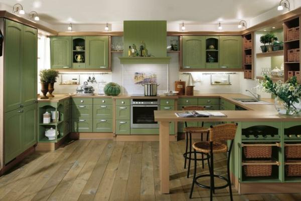 moderne küchen geräumige küche grün schöne beleuchtung