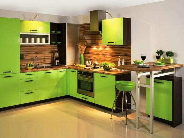 moderne küchen grüne einrichtung kompakt funktional