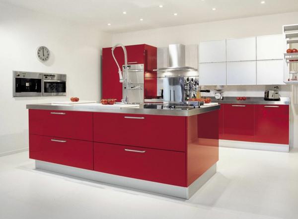 moderne küchen rot weiß kücheninsel