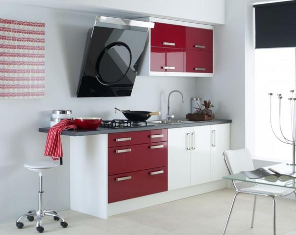moderne küchen rot weiß kombinieren kleine küche