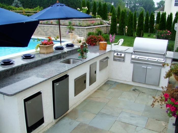 outdoor küche eingebaute elektrogeräte marmor arbeitsplatte