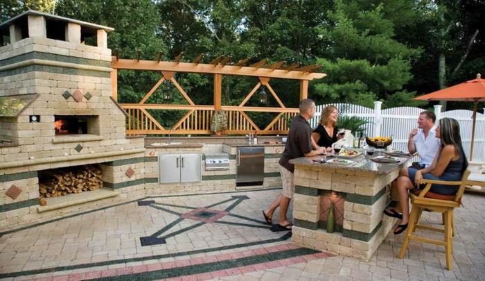 outdoor küche ergonomisch funktional steinverkleidung