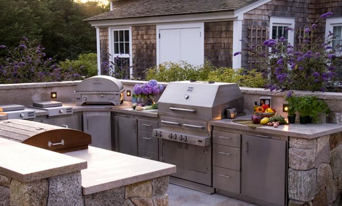 outdoor küche ergonomisch steine matt metall romantisch