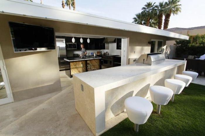 outdoor küche minimalistisch bartheke weiß barhocker