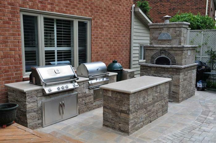 outdoor küche steinofen kücheninsel theke grill