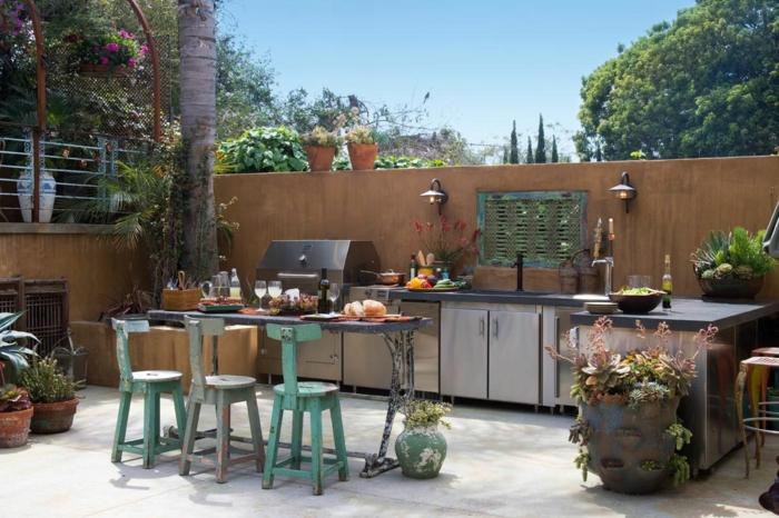 outdoor küche theke vintage stühle volle ausstattung