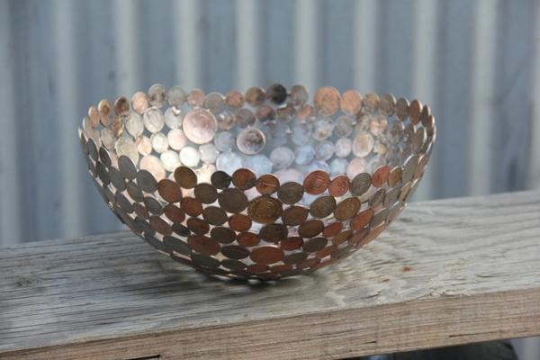 recycling basteln schüssel alte münzen