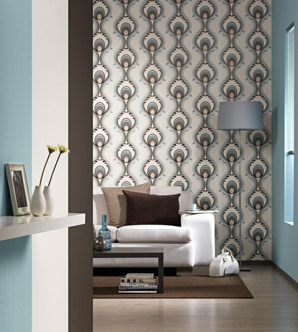 gestalten sie ihre wand mit retro tapeten. Black Bedroom Furniture Sets. Home Design Ideas
