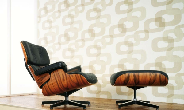 retro tapeten muster geometrisch  eames lounge chair