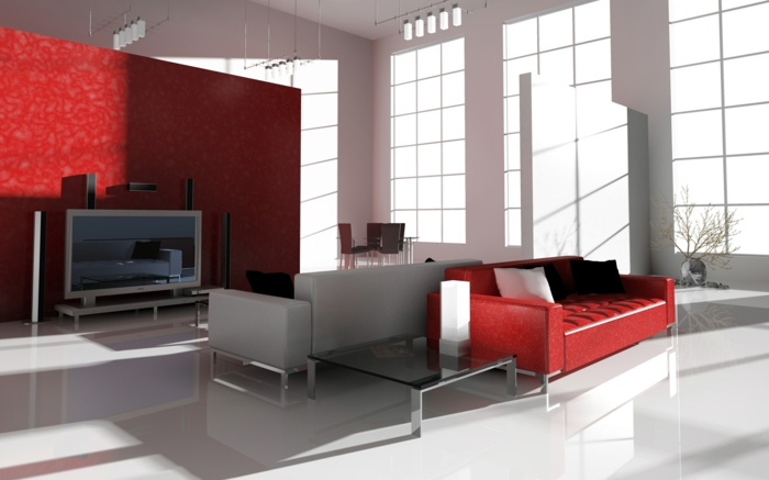 rote sofas wohnzimmer rote akzentwand gläserner couchtisch