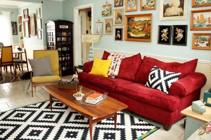 rotes sofa ins innendesign einbeziehen inspirierende