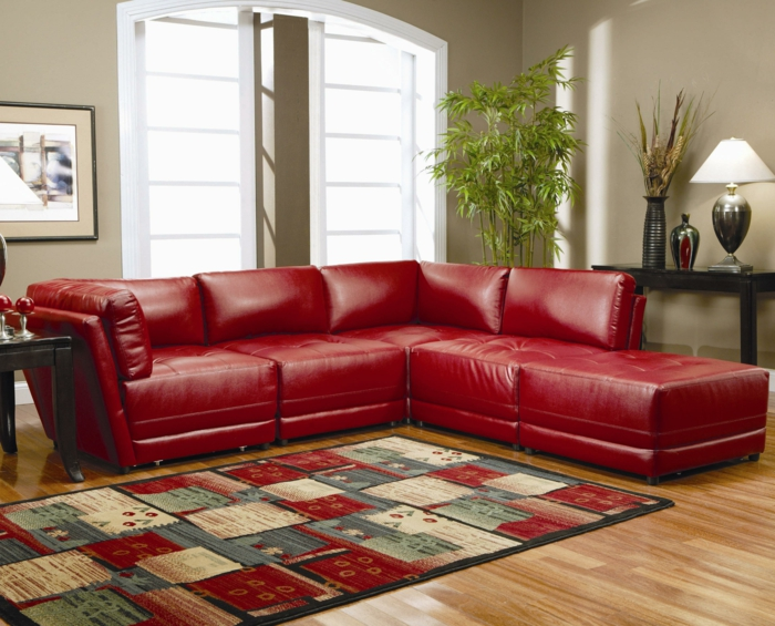 Wandfarbe wohnzimmer rote couch