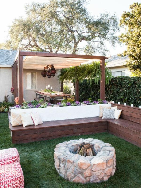 Garten Ideen Feuerstelle Grüner Rasen
