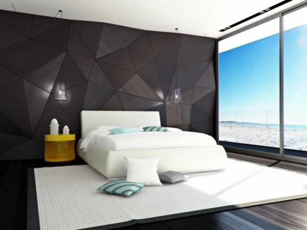 schlafzimmergestaltung ideen dunkle wandgestaltung weißer teppich