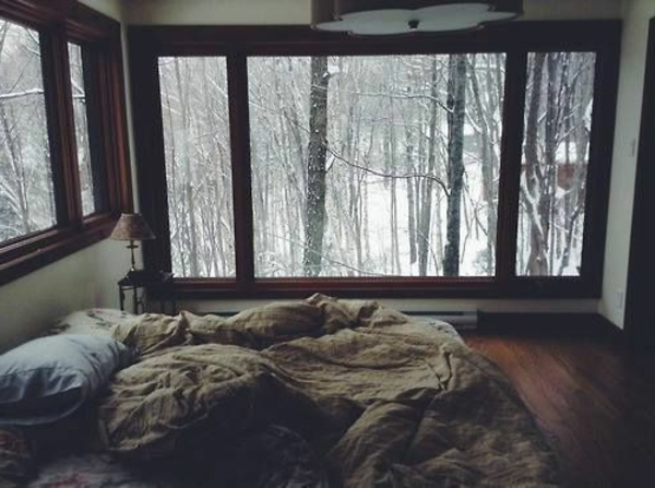 schlafzimmergestaltung ideen wald schnee aussicht