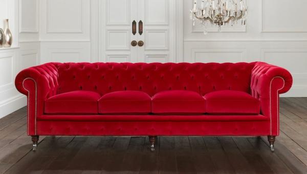 schöne sofas chesterfield couch rot samt