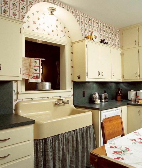 schöne tapetenmuster küche graue küchenarbeitsplatte