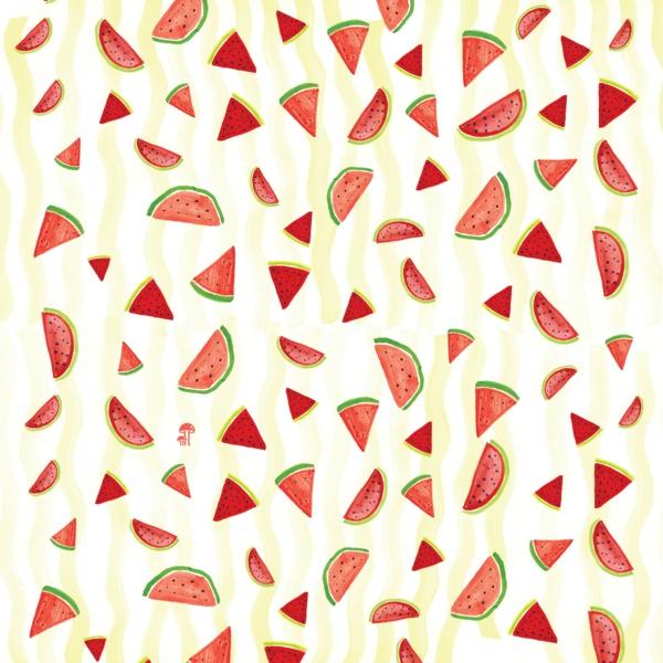 schöne tapetenmuster wassermelonen muster wandgestaltung