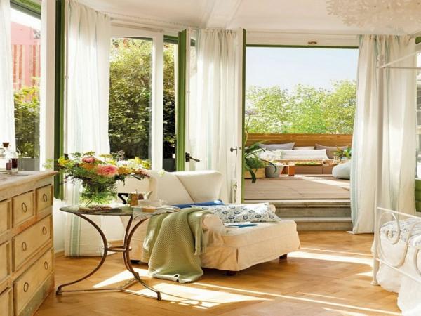 schlafzimmer design harmonisch frisch luftige gardinen
