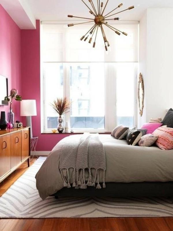 schlafzimmer design schöne einrichtungsideen rosa wandfarbe