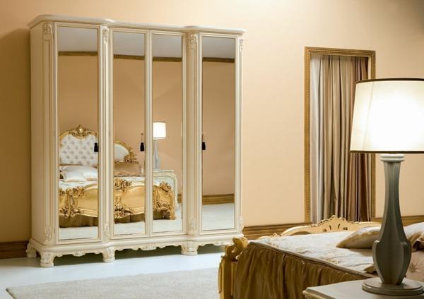 schlafzimmer design vintage einrichtungsstil kleiderschrank spiegeltüren