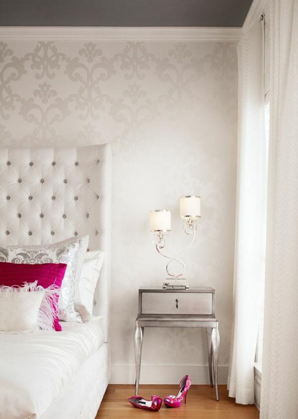 schlafzimmer design weibliche ausstrahlung weißes interieur