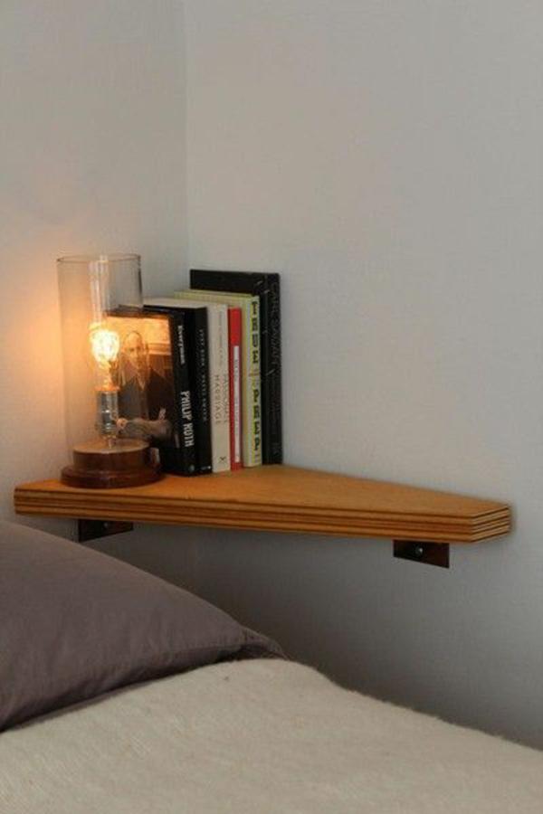 schlafzimmer möbel bett nachttisch ecktisch holzplatte wand
