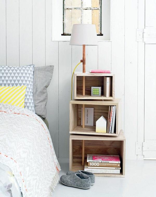 schlafzimmer möbel bett nachttisch kreatives design