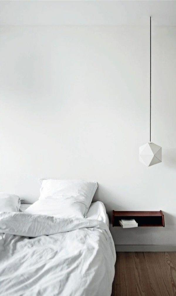 schlafzimmer möbel bett nachttisch wand minimalistisch