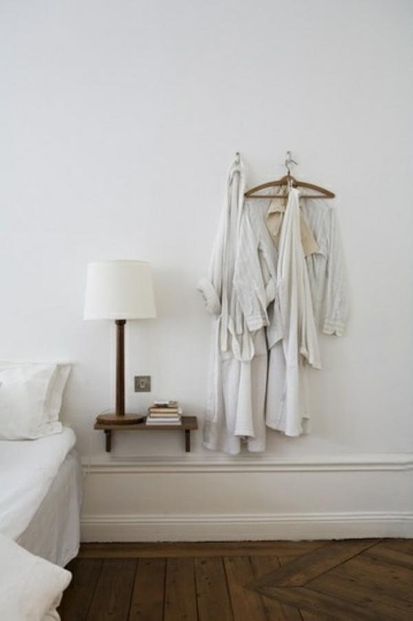 schlafzimmer möbel bett nachttisch wand montiert