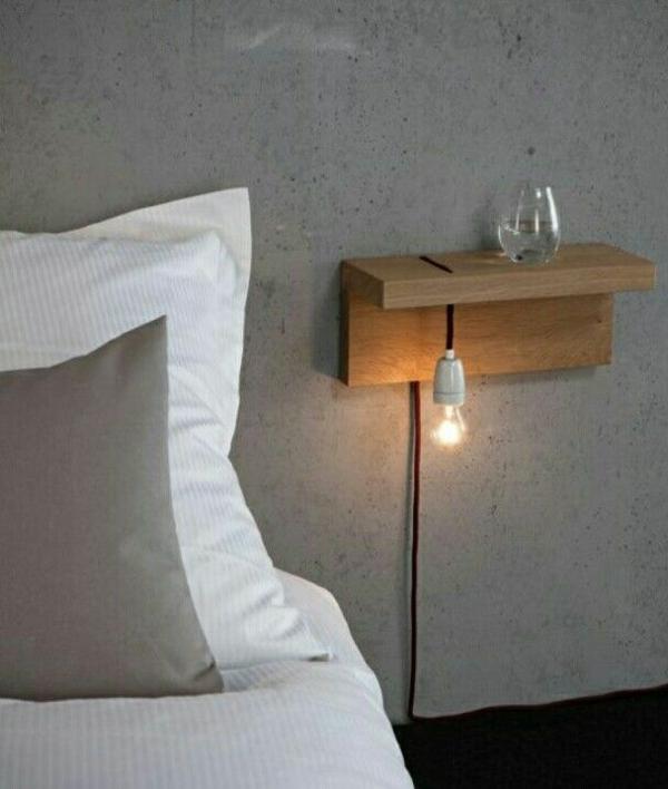 schlafzimmer minimalistisch einrichten schicker nachttisch holz