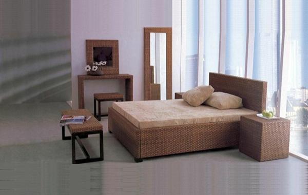 schlafzimmer set schlafzimermöbel rattan sommerlich
