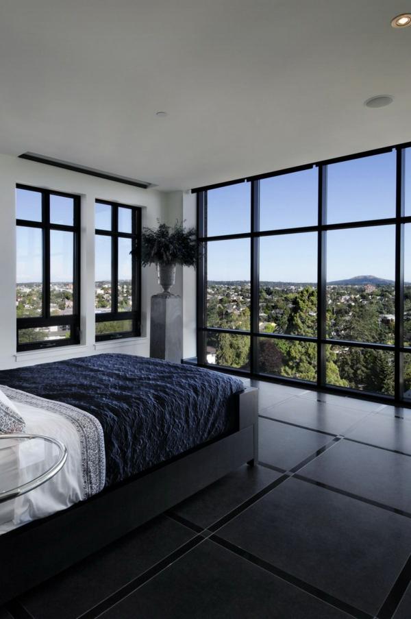 schlafzimmergestaltung dunkler boden weiße wandfarbe