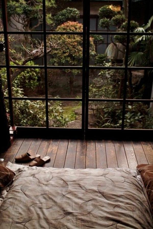 schlafzimmergestaltung holzboden schöne aussicht