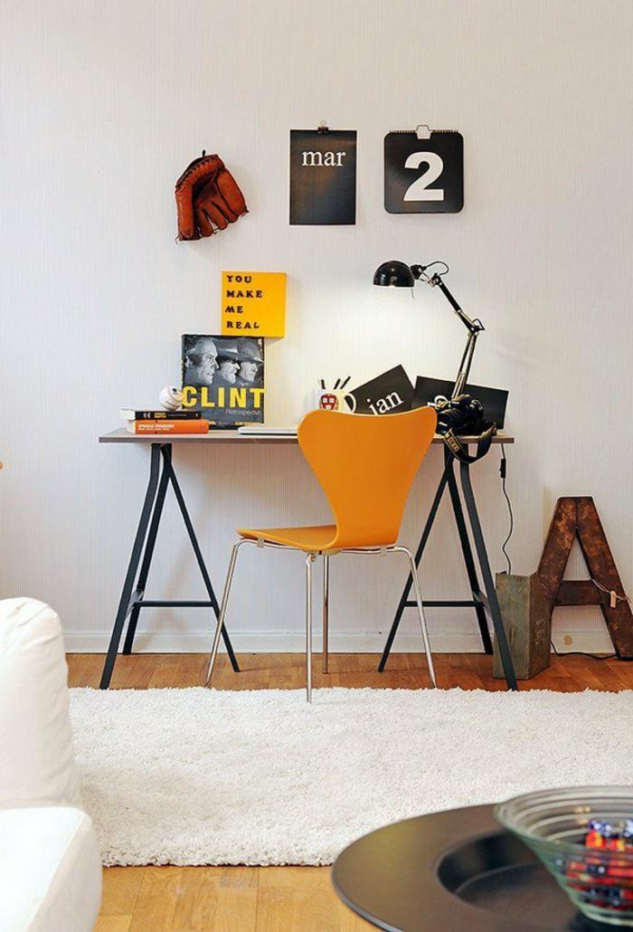 skandinavische möbel schreibtische idee orange farbe haus wohnung
