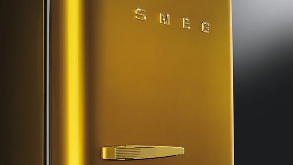 smeg kühlschrank elegant retro luxus gold glanz