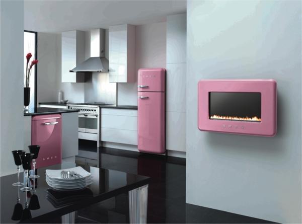 smeg kühlschrank minimalistisch küche rosa glanz