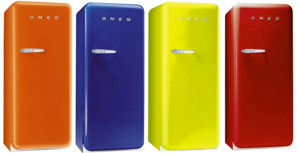 smeg kühlschrank retro küche modern farbpalette