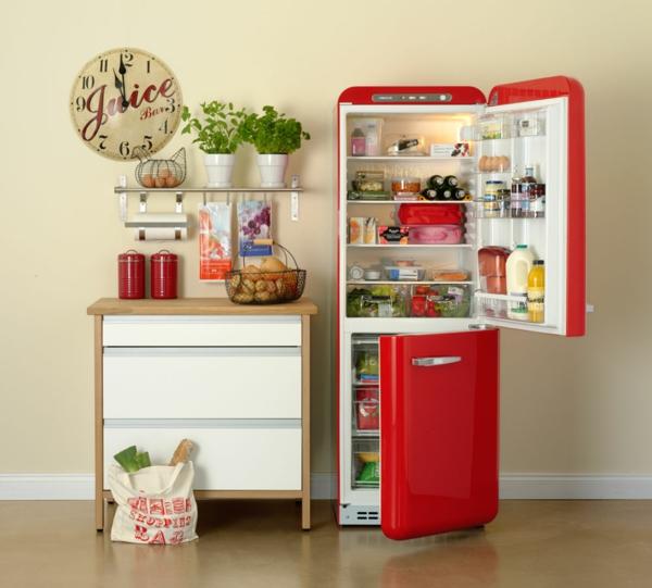 smeg kühlschrank retro kücheneinrichtung rot
