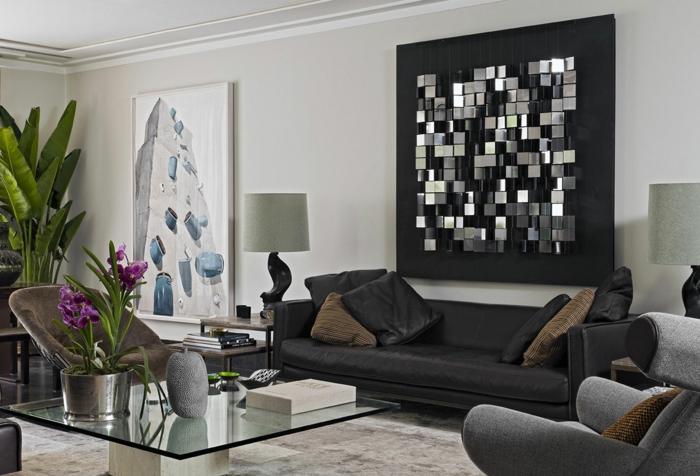 sofa kissen wohnzimmer dekokissen gläserner couchtisch pflanzen