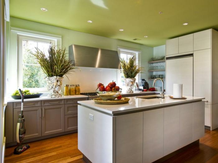 streichen ideen küche grüne decke gestalten