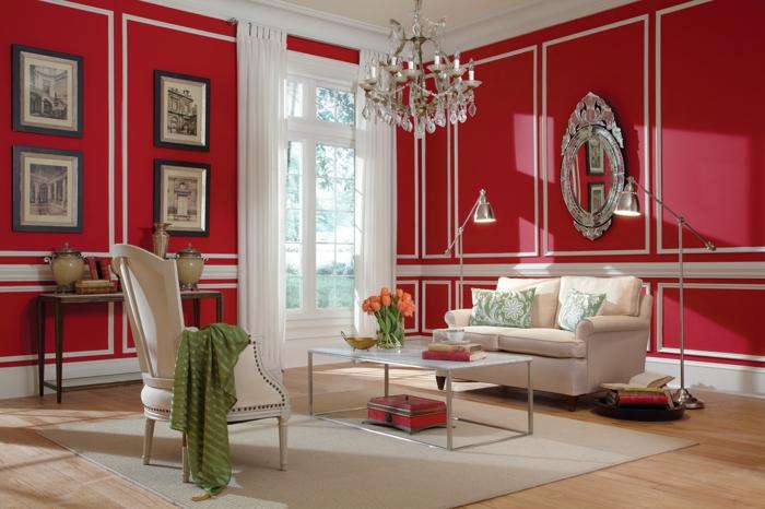streichen ideen wohnzimmer rote wände beige möbelstücke