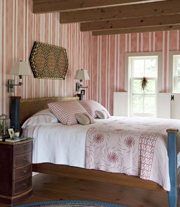 streifentapete schlafzimmer landhausstil schöne wohnideen