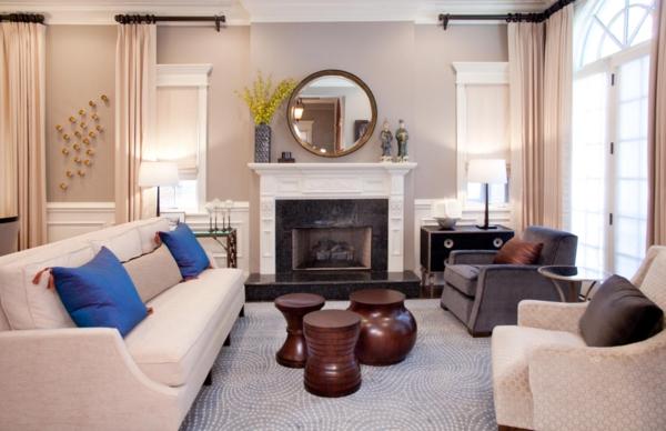 symmetrie kamin wohnzimmer retromöbel vorhänge