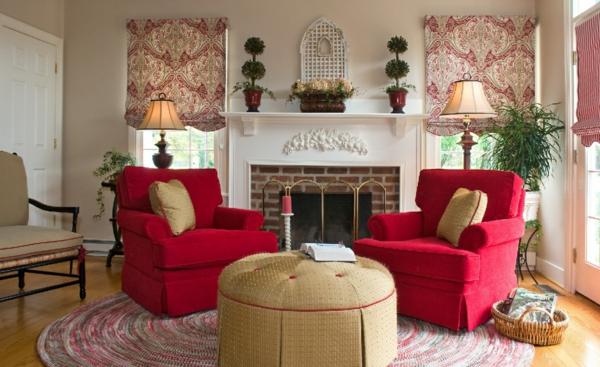 Im Innendesign Muss Man Sich Also Zuerst Für Einen Gegenstand Entscheiden,  Der In Der Mitte Platziert Ist. Symmetrie Wohnzimmer Kamin Rote Sessel
