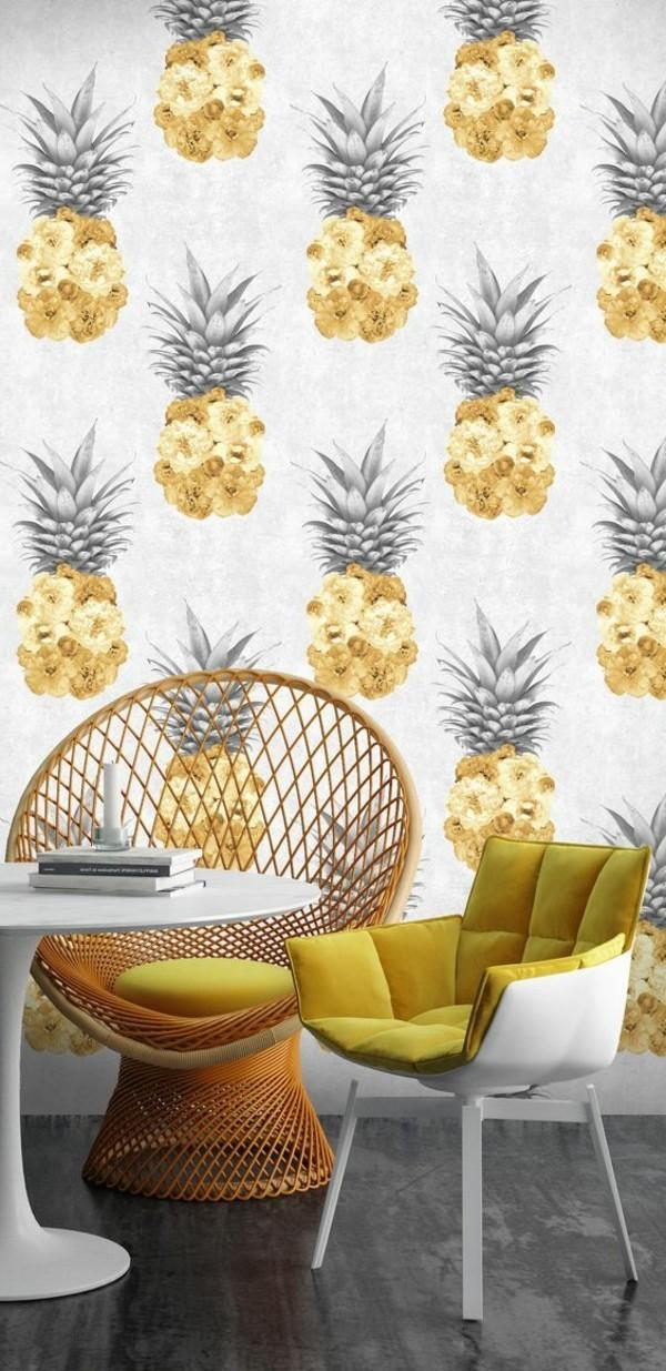 tapeten ideen mit ananassen für den essbereich