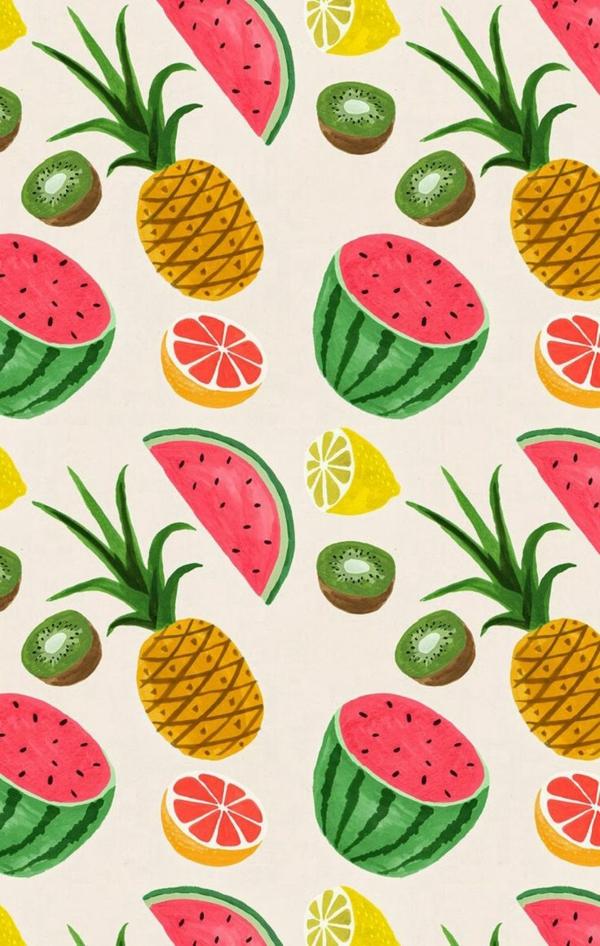 tapetenmuster früchte die wände erfrischen