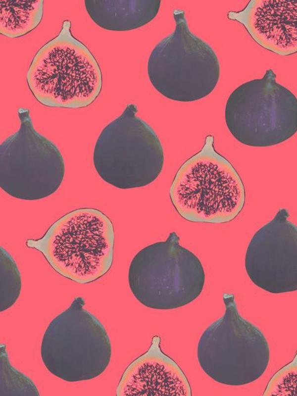 tapetenmuster früchte rot schwarz wandgestaltung