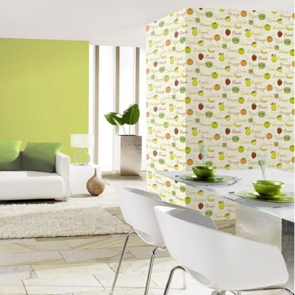 tapetenmuster schöne wandgestaltung küche früchte weiße esszimmermöbel