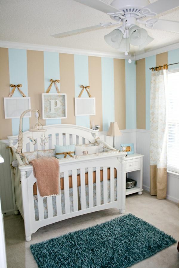 teppich babyzimmer grünes design weißes gitterbett